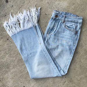 Zara Mid-Rise Fringe Hem Ankle Jeans